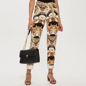 TOPSHOP Chain Print Nonstretch Mom High Rise Jeans